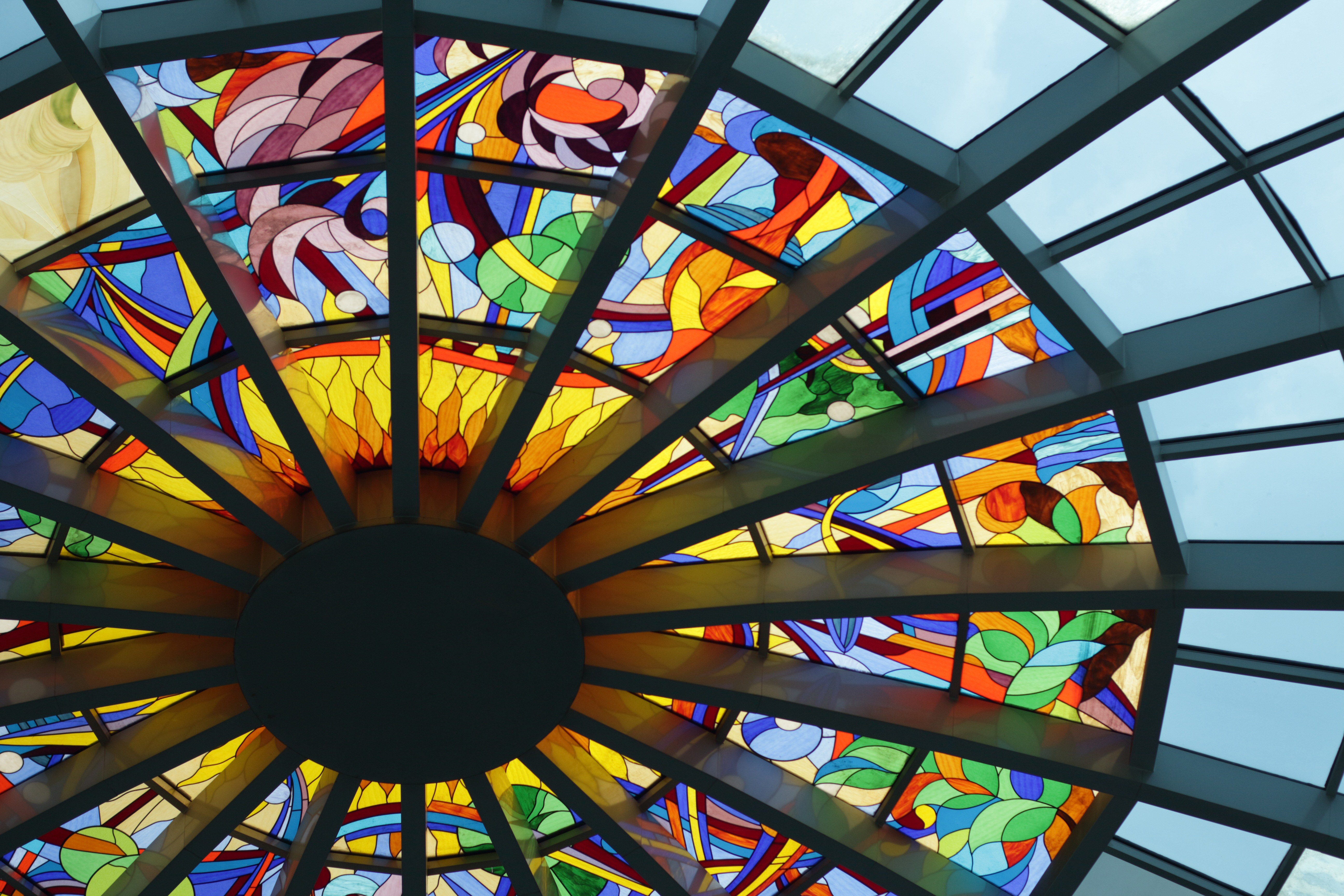 Blue Green and Pin Stained Glass Roof Decor