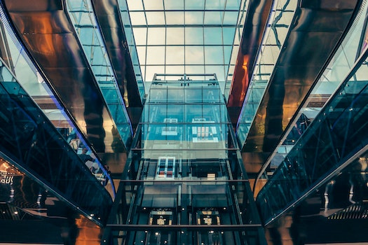 Worm's Eye View of Glass Panel Building