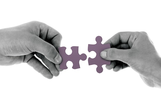 2 Hands Holding 1 Jigsaw Puzzle Piece Each