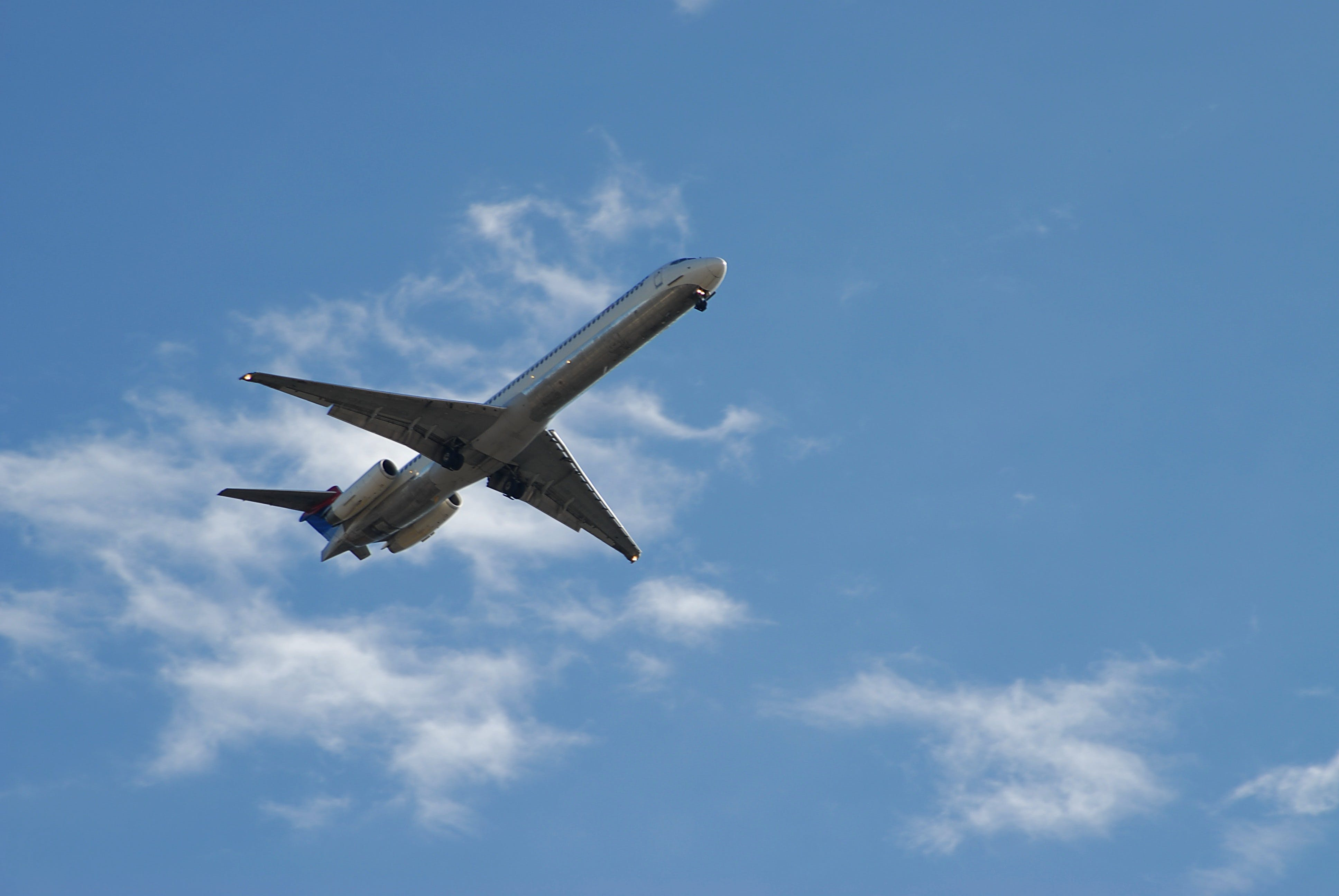 White and Blue Airplane Under White and Blue Sky during Daytime
