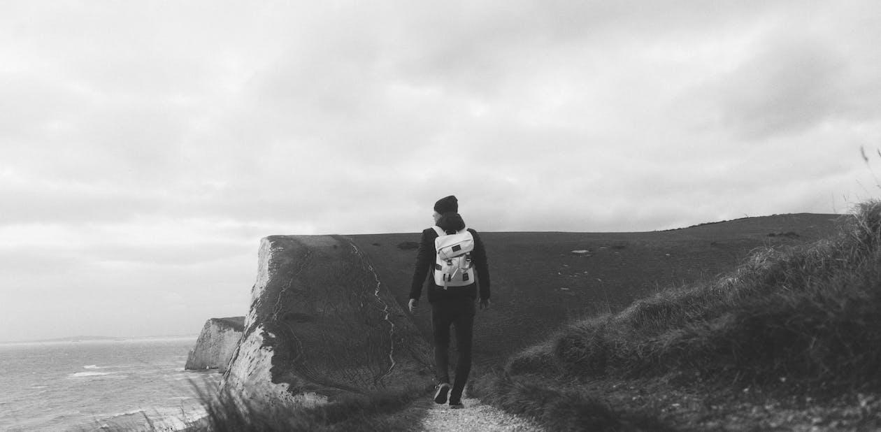 backpacker, england, klippe