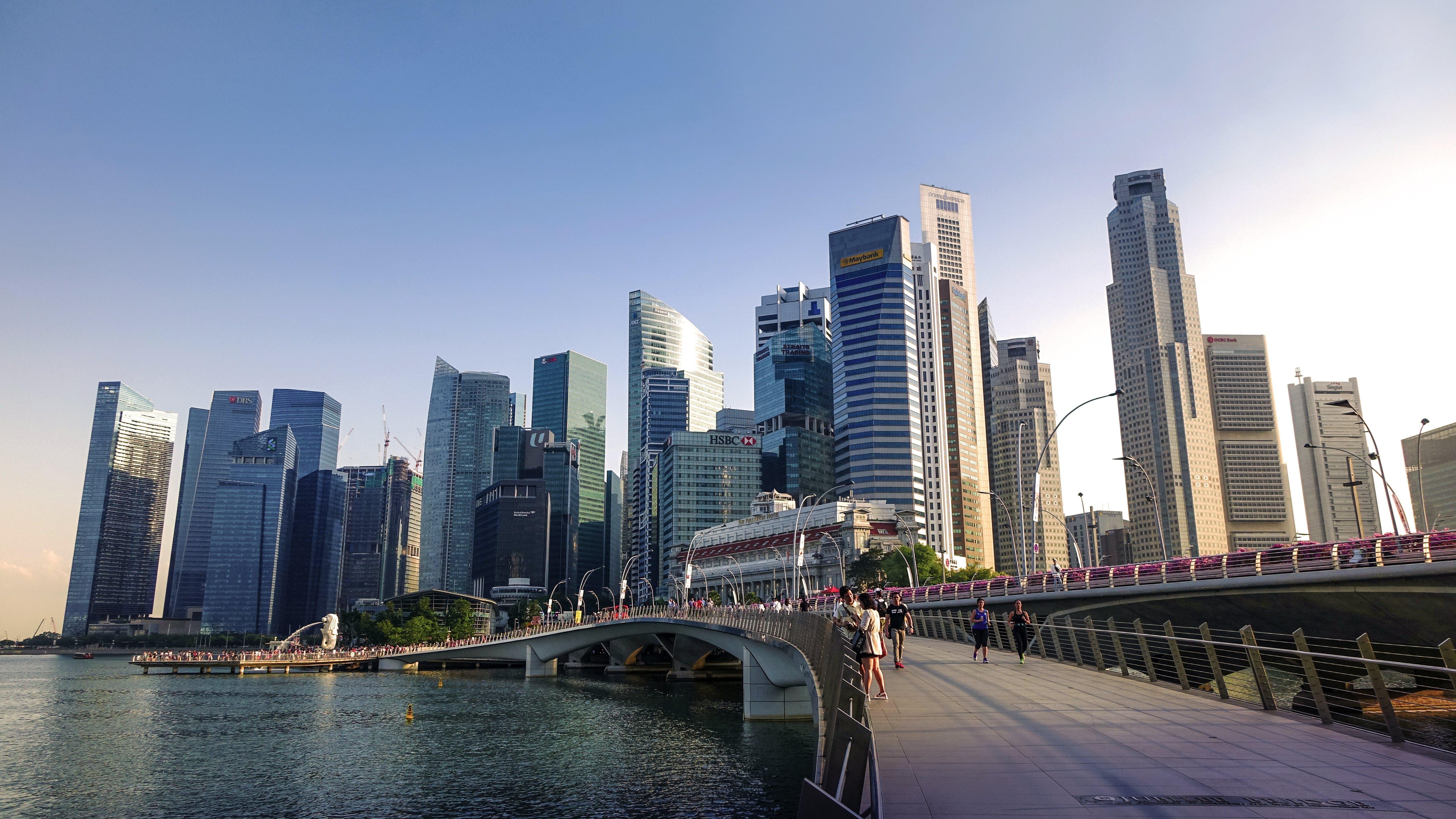 Free stock photo of city, people, water, skyline