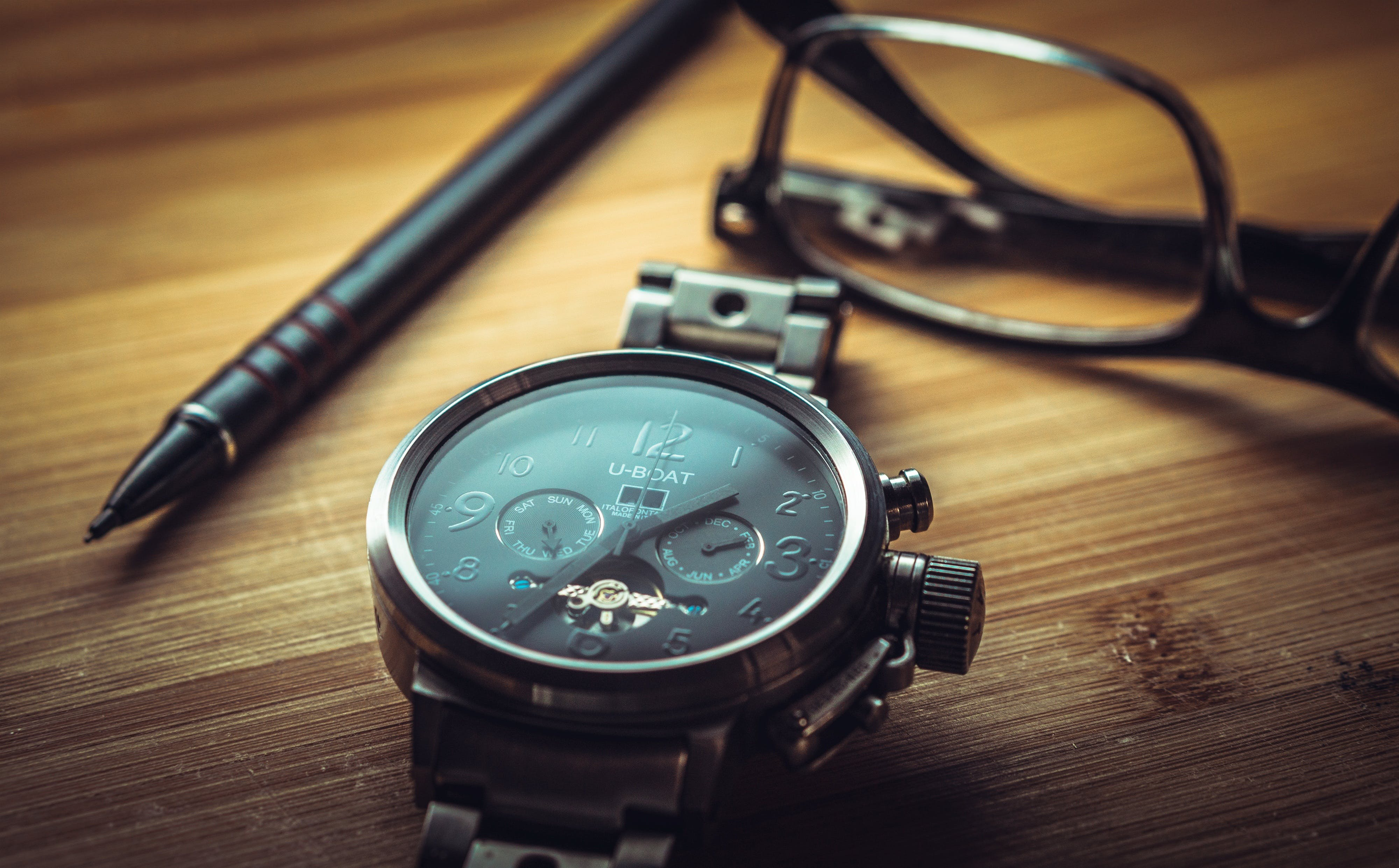 Silver Black Round Chronograph Watch