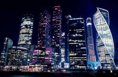 คลังภาพถ่ายฟรี ของ กรุงมอสโก, กลางคืน, ตัวเมือง, ตึก