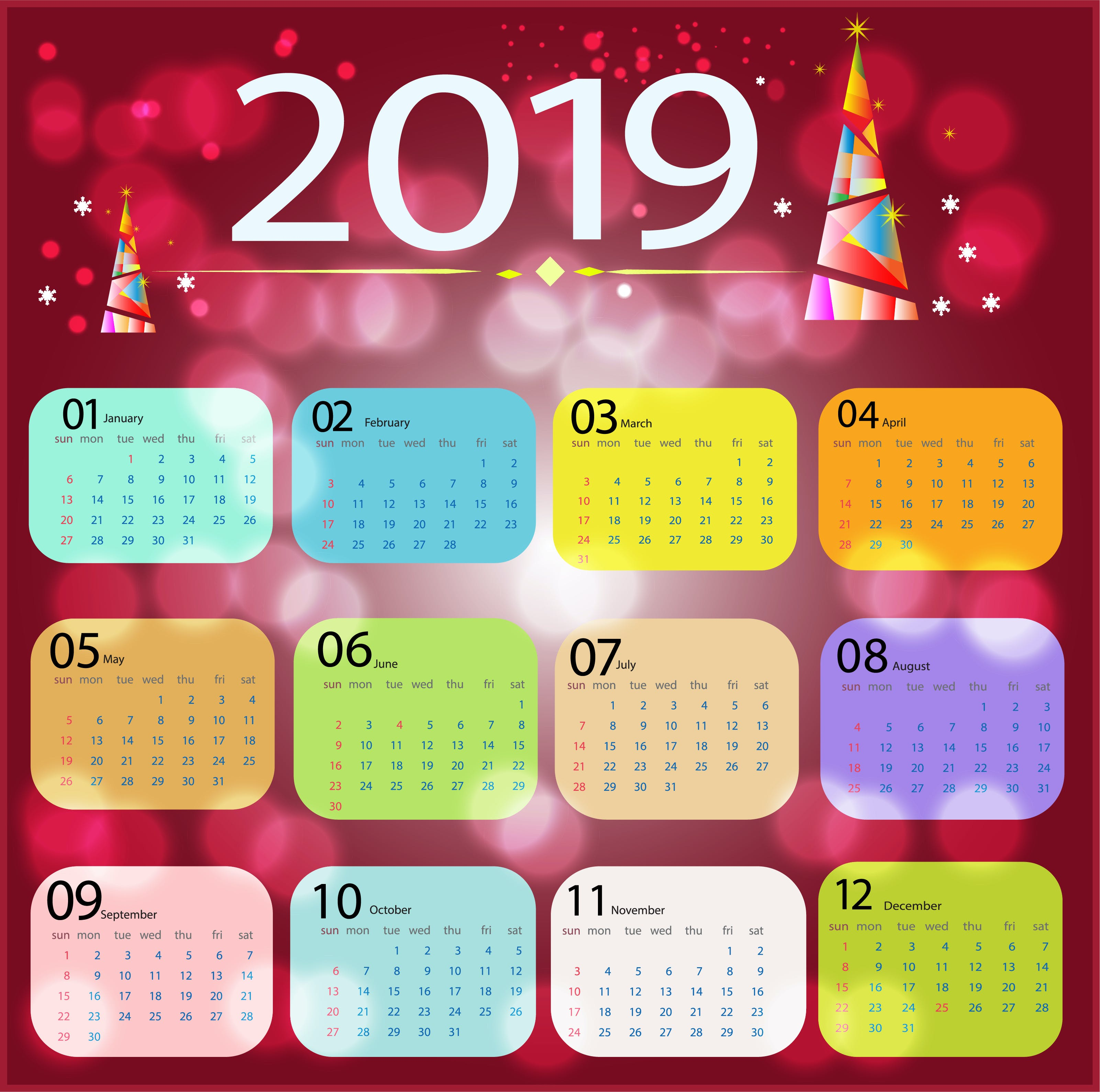 Free stock photo of 2019, calendar, color, grapphic