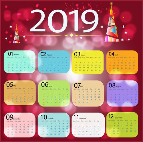 Kostenloses Stock Foto zu 2019, farbe, grapphic, kalender