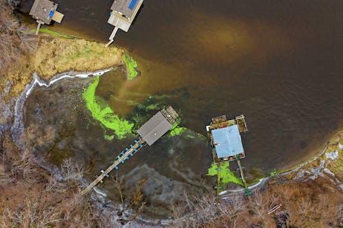 Foto profissional grátis de aerofotografia, água, casas, coberturas