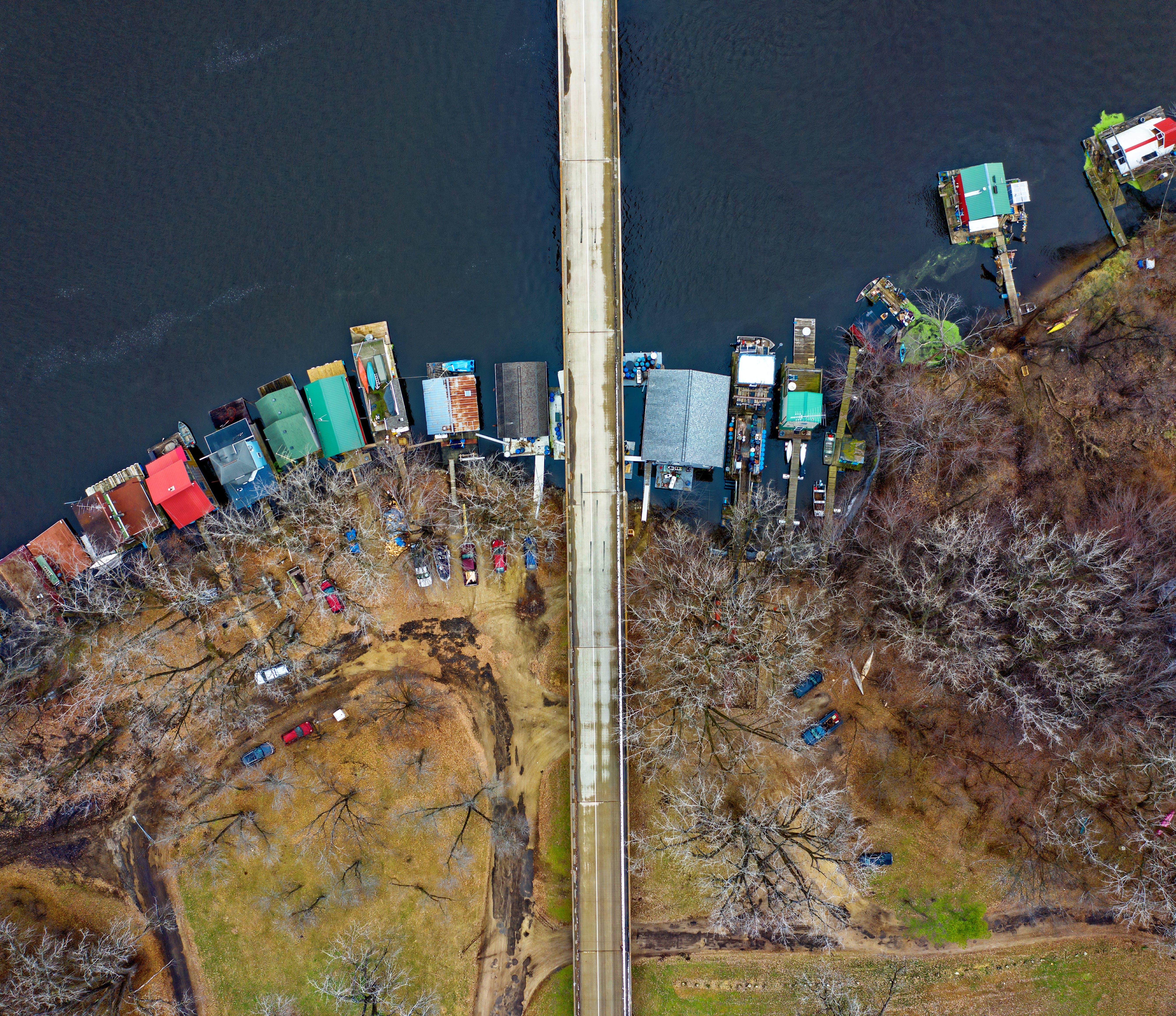 Aerial Photography of an Island Near a Bridge