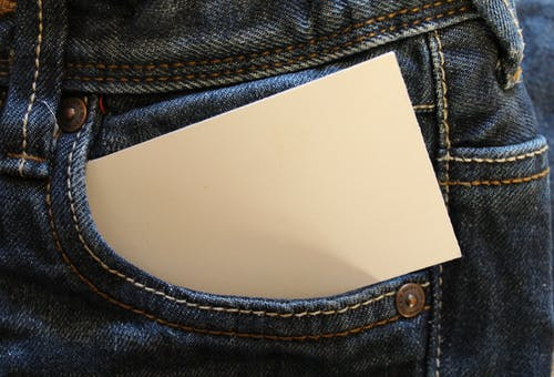 White Card on Gray Denim Pants Pouch