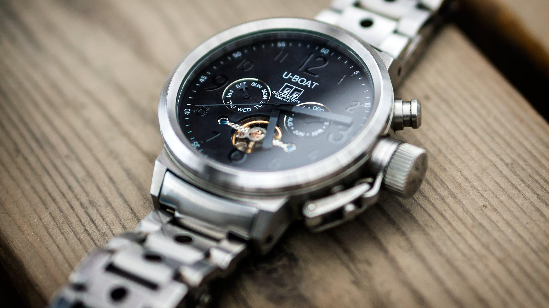 Silver Link Bracelet Black U-boat Chronograph Watch