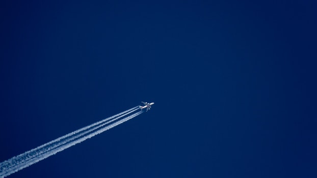 White Plane on Blue Sky