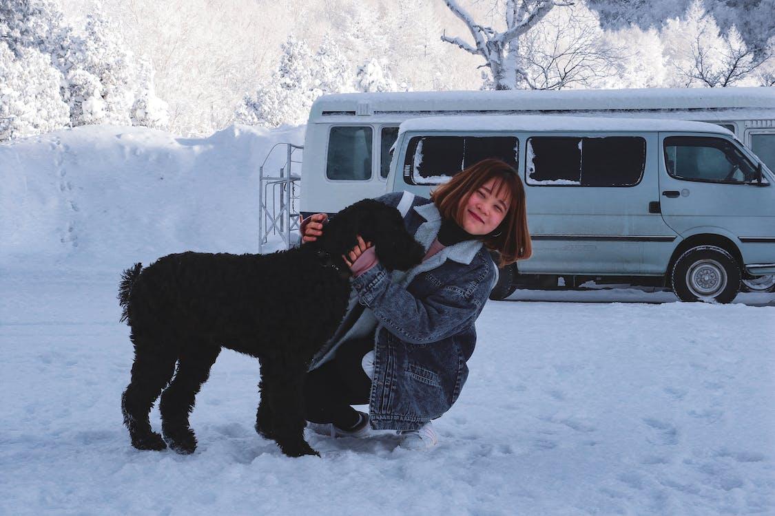 Donna Che Abbraccia Cane Nero A Pelo Corto
