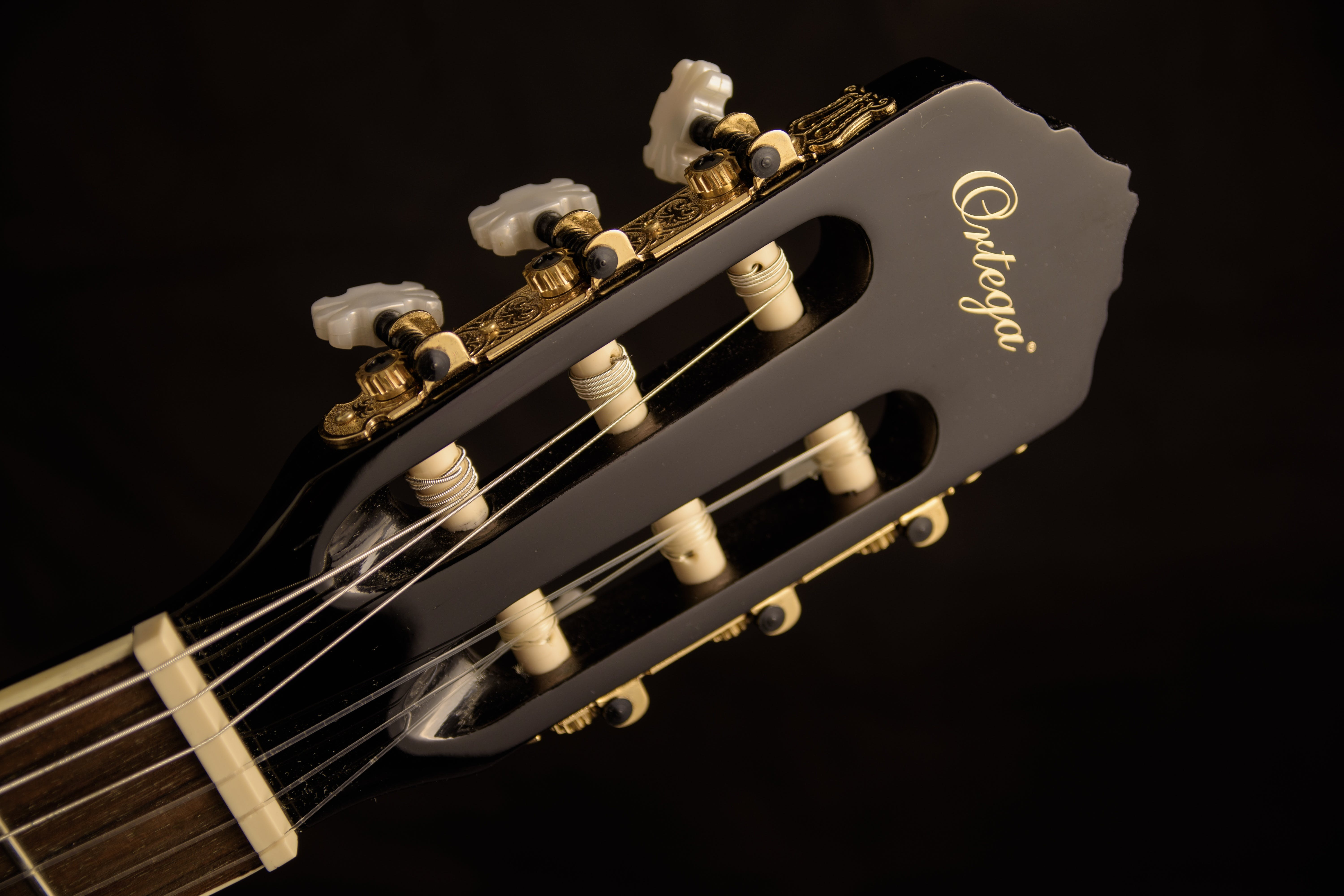 Black Ortega Guitar Headstock