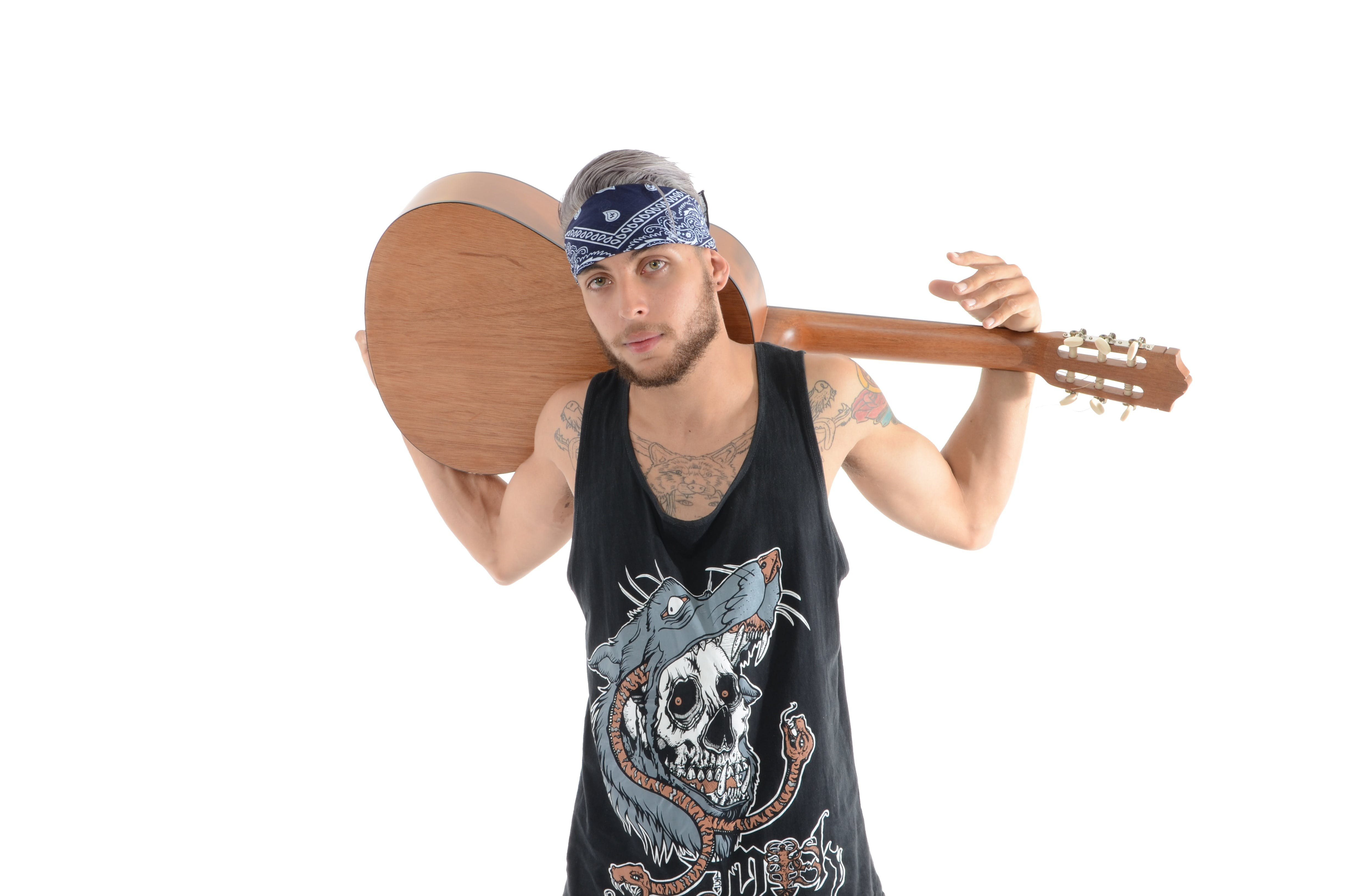 Man in Black and Grey Tank Top Carrying Brown Classical Guitar