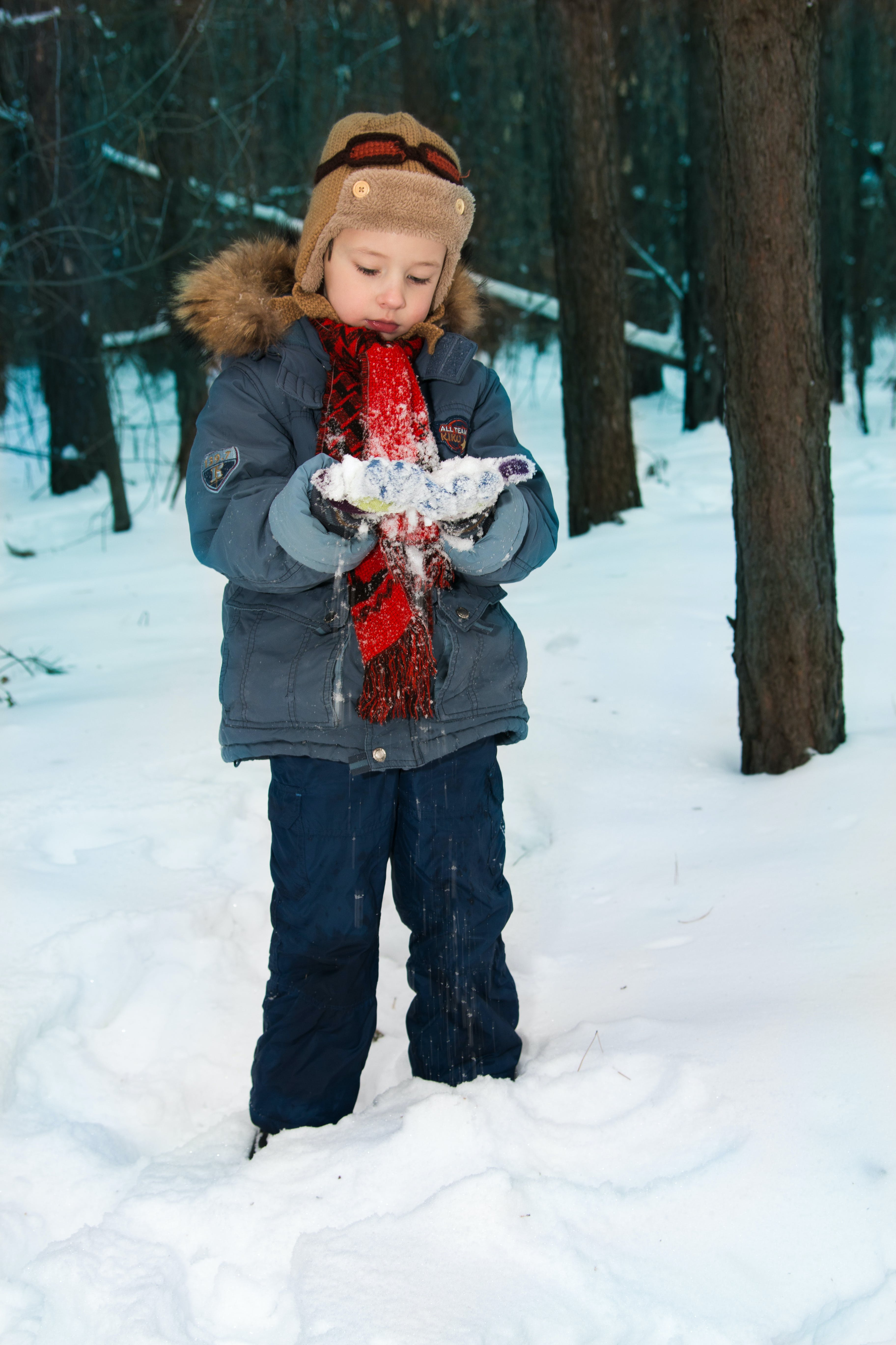 Person Playing With Snow