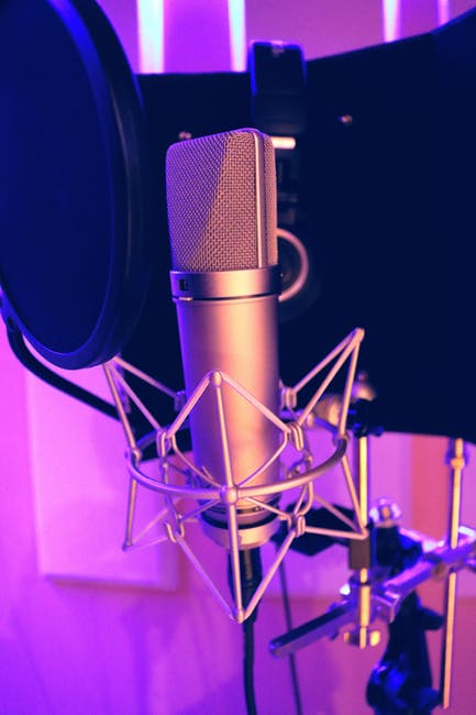 New free stock photo of blur, illuminated, microphone
