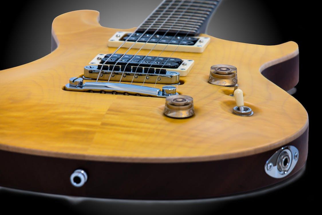 dřevěný, dřevo, elektrická kytara