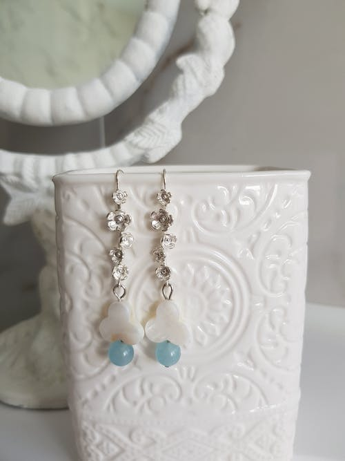Earrings Hooked On White Floral Jar