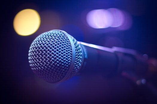 Tilt Shift Photograph of Gray and Black Microphone