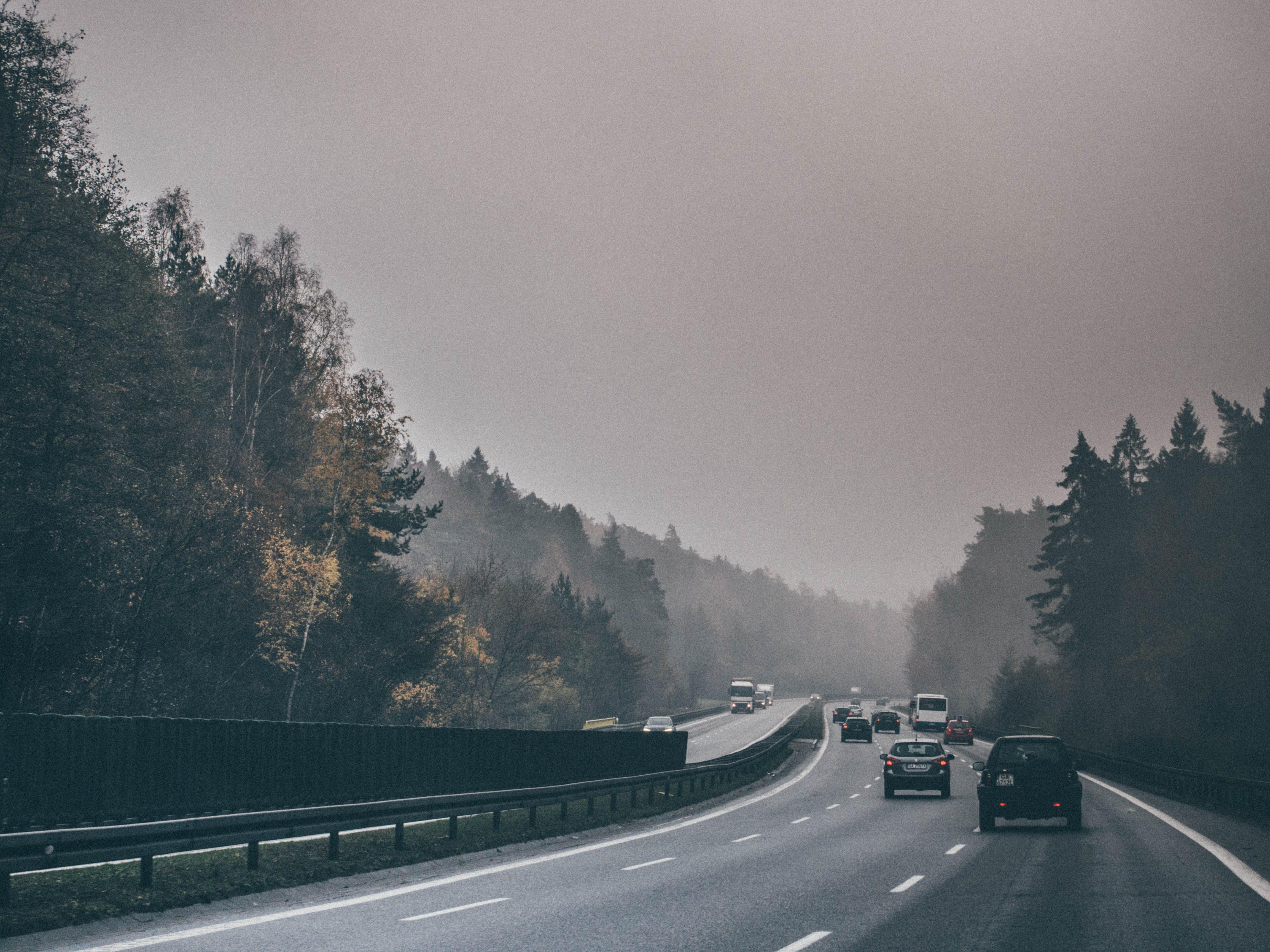 Vehicles on Gray Concrete Under Fog