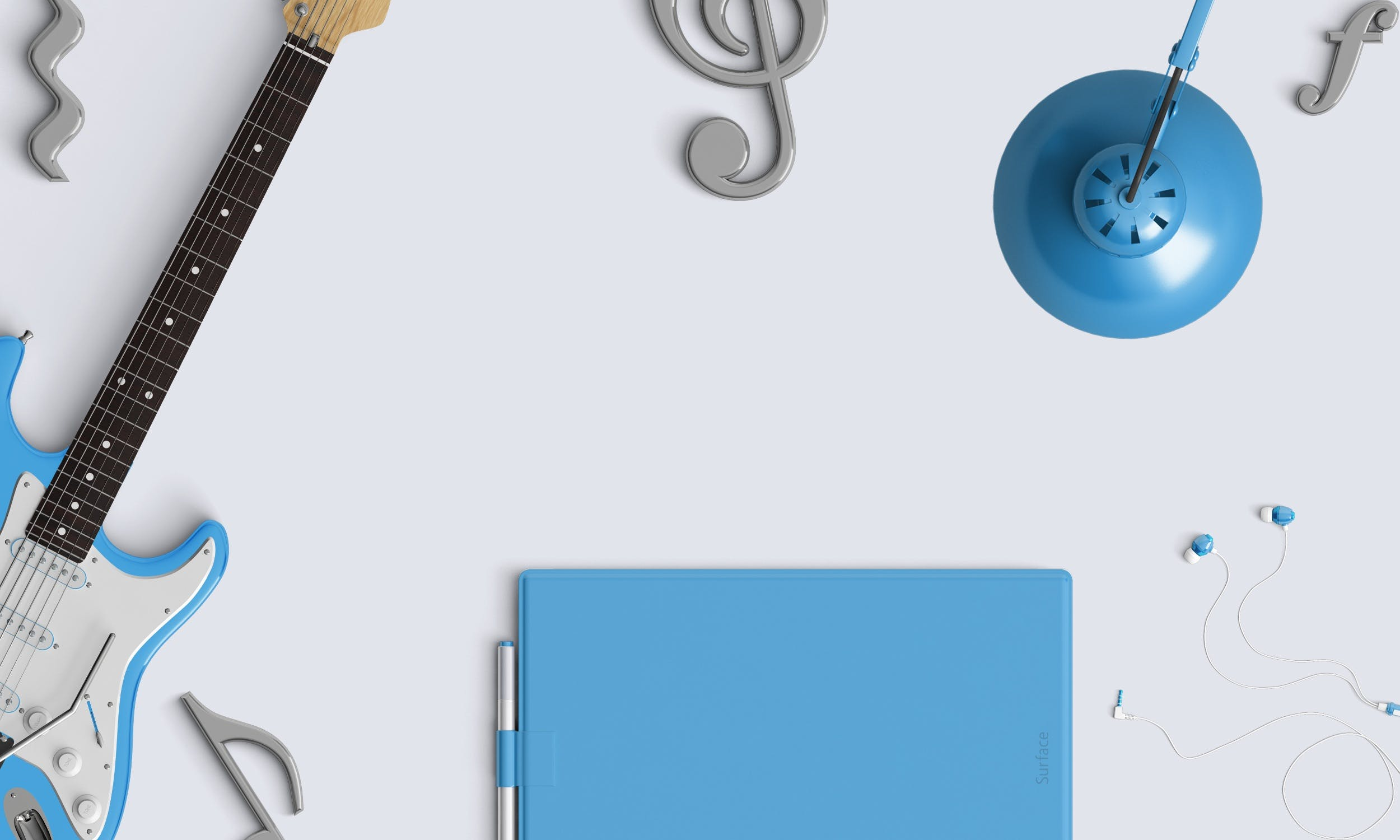 White Skyblue Electric Guitar and Other Blue Materials Wall Decor