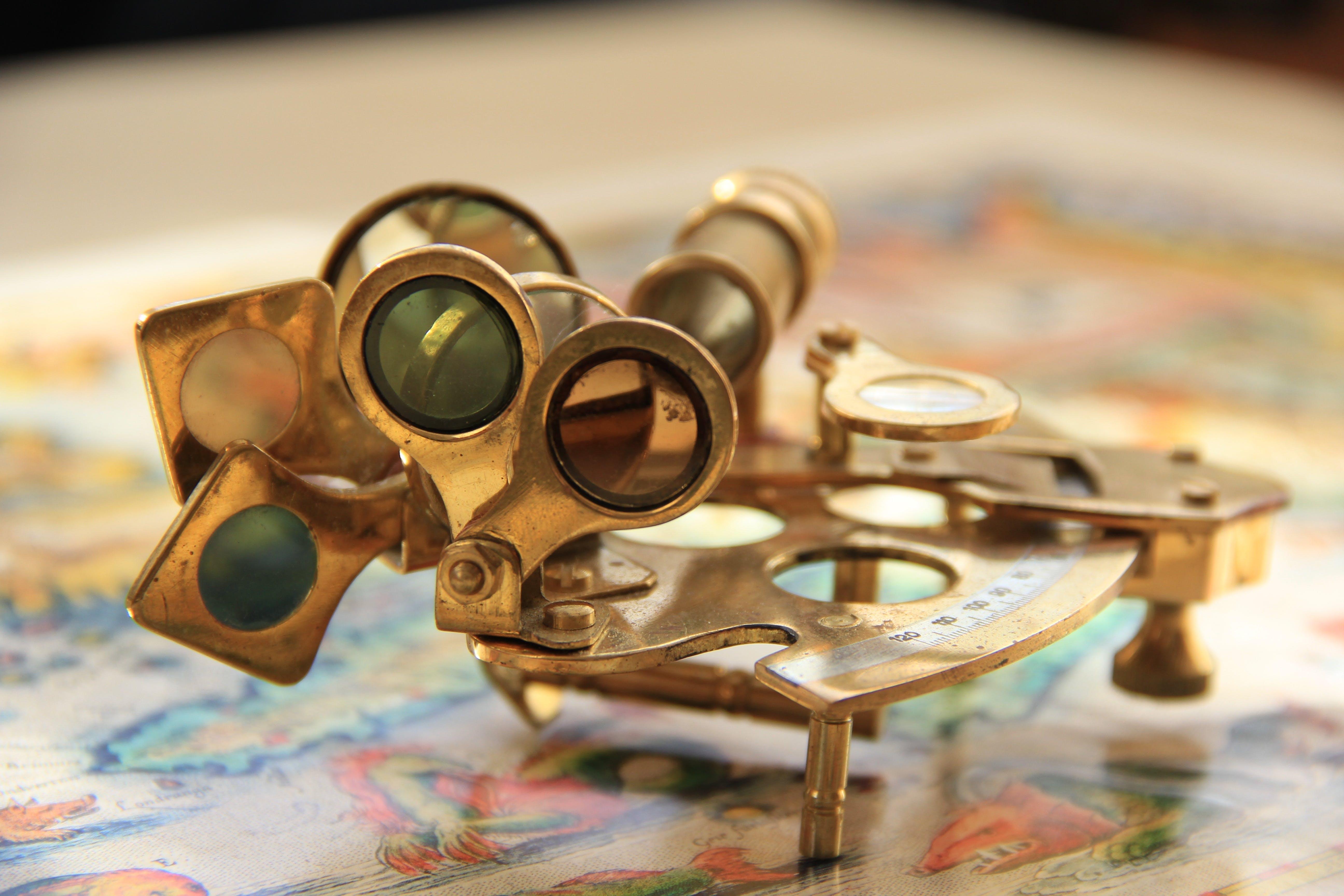 Close Up Photograph of Brass Mechanical Tool