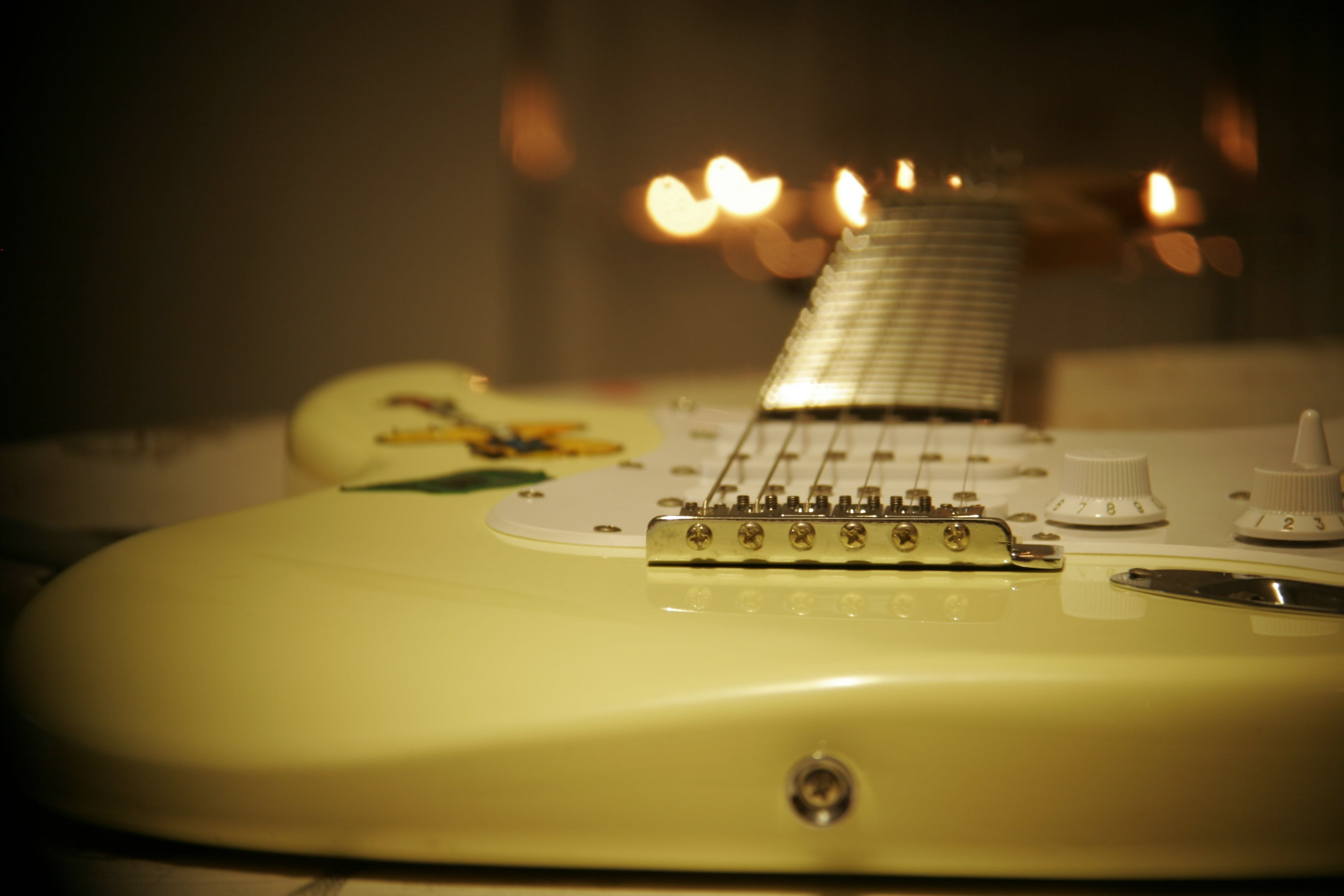 Yellow and White Stratocaster Electric Guitar