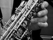 black-and-white, hand, music