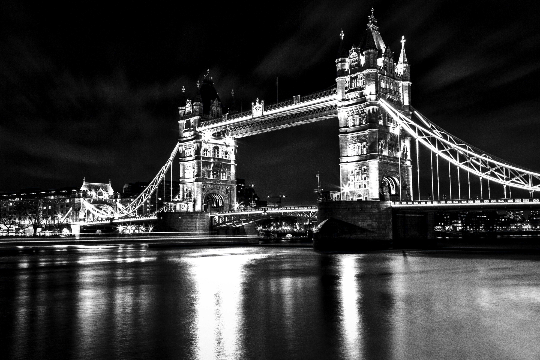 Monochrome Photo of London Tower Bridge