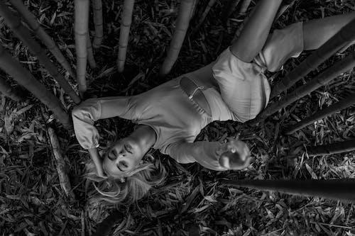 Immagine gratuita di ambiente, bianco e nero, capelli biondi, disteso