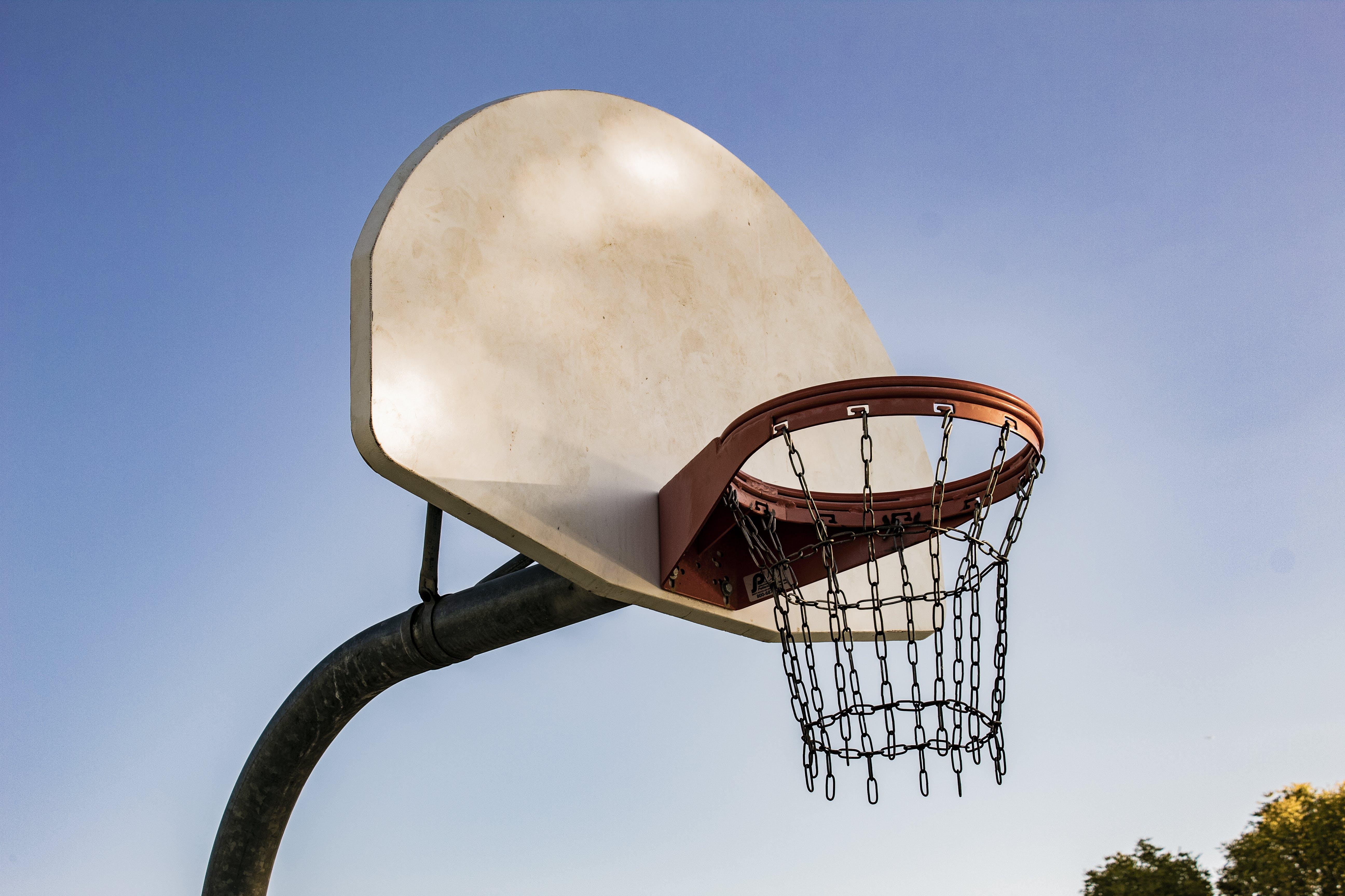 Basketball Hoops Under Clear Blue Sky