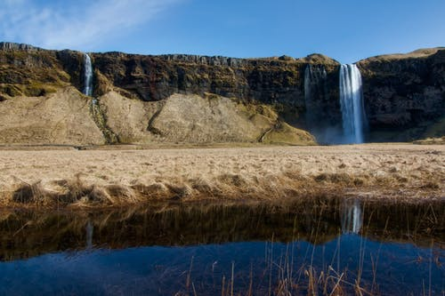seljalandsfoss, 반사, 아이슬란드, 폭포의 무료 스톡 사진