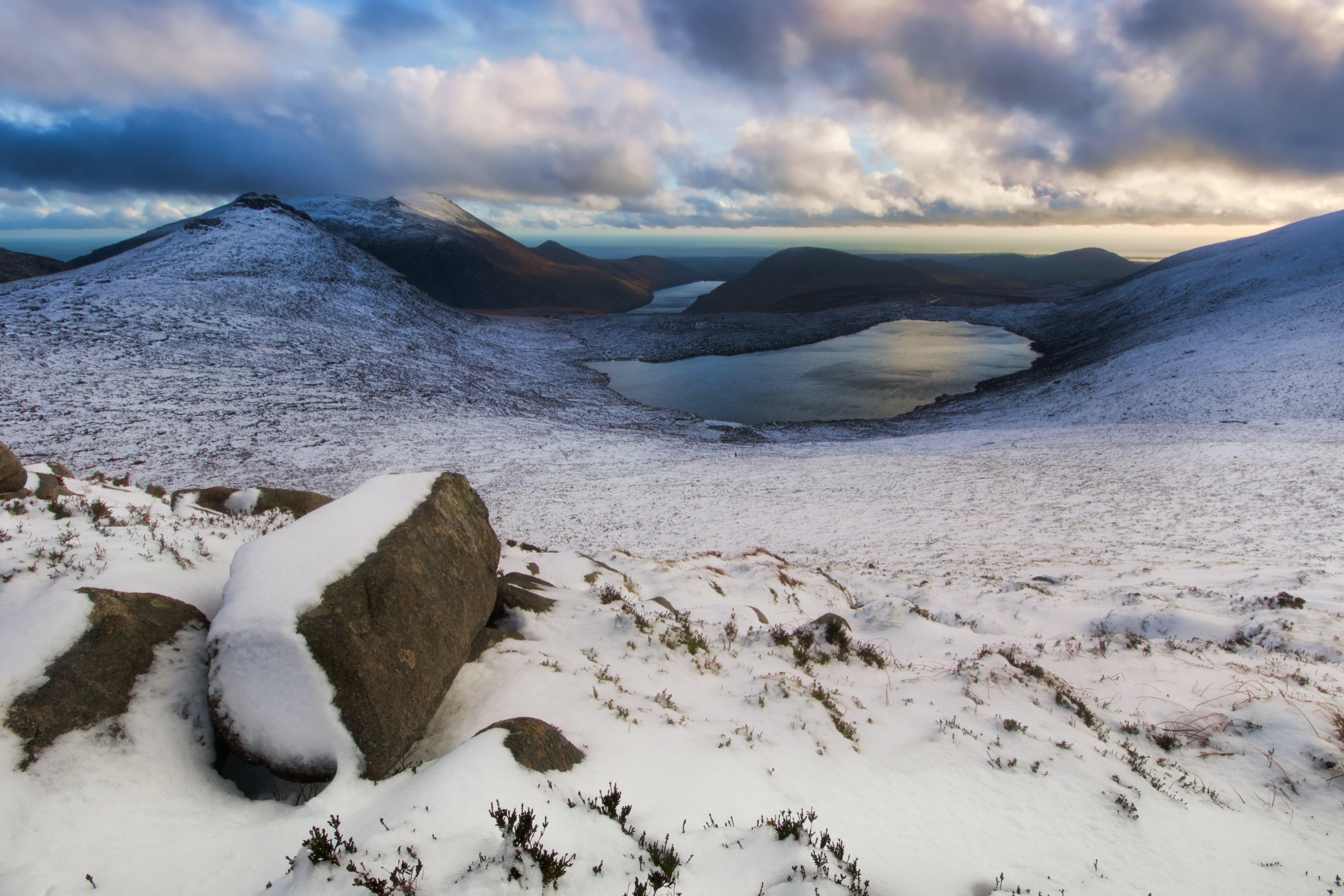 bjerge, forkølelse, frossen