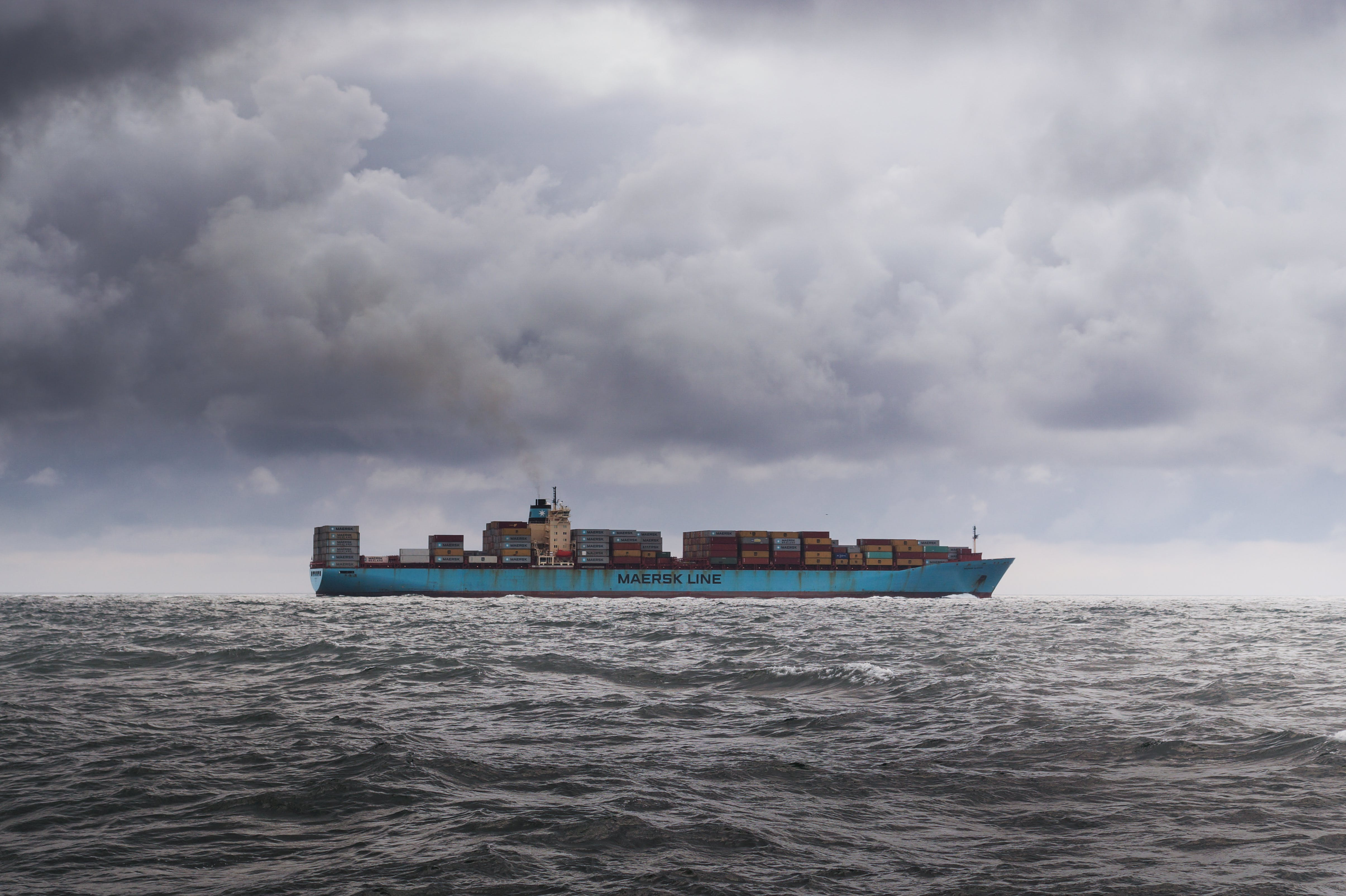 boat, clouds, containers
