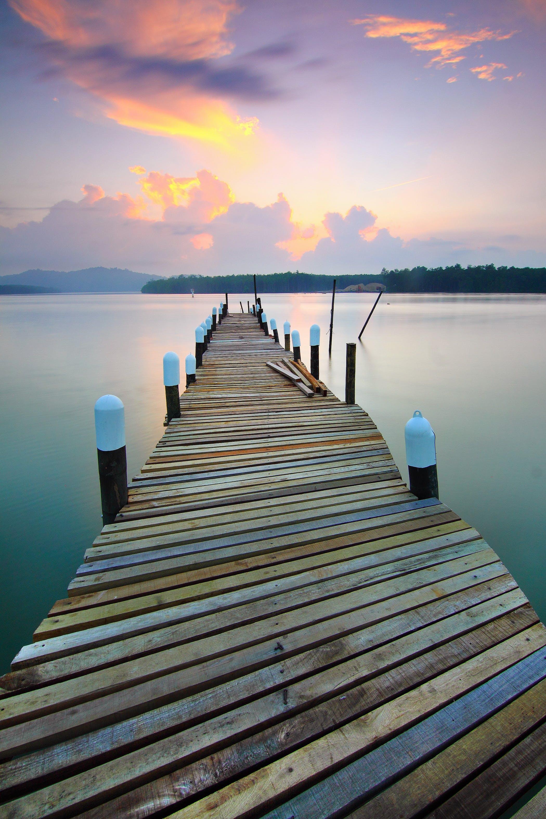 ドック, 反射, 日没, 桟橋の無料の写真素材