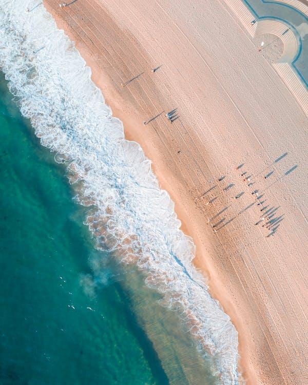 fågelperspektiv, från ovan, hav