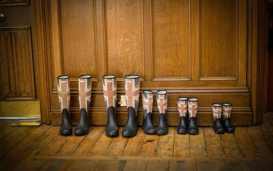 Black Red and Blue England Flag Print Rain Boots