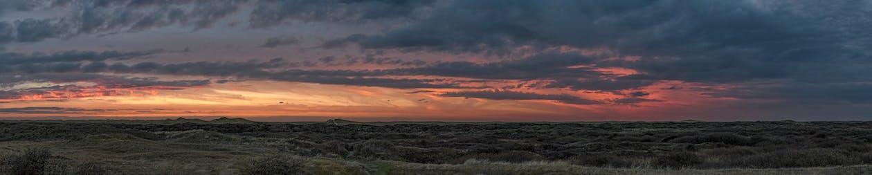 avondlucht, duinen, panorama