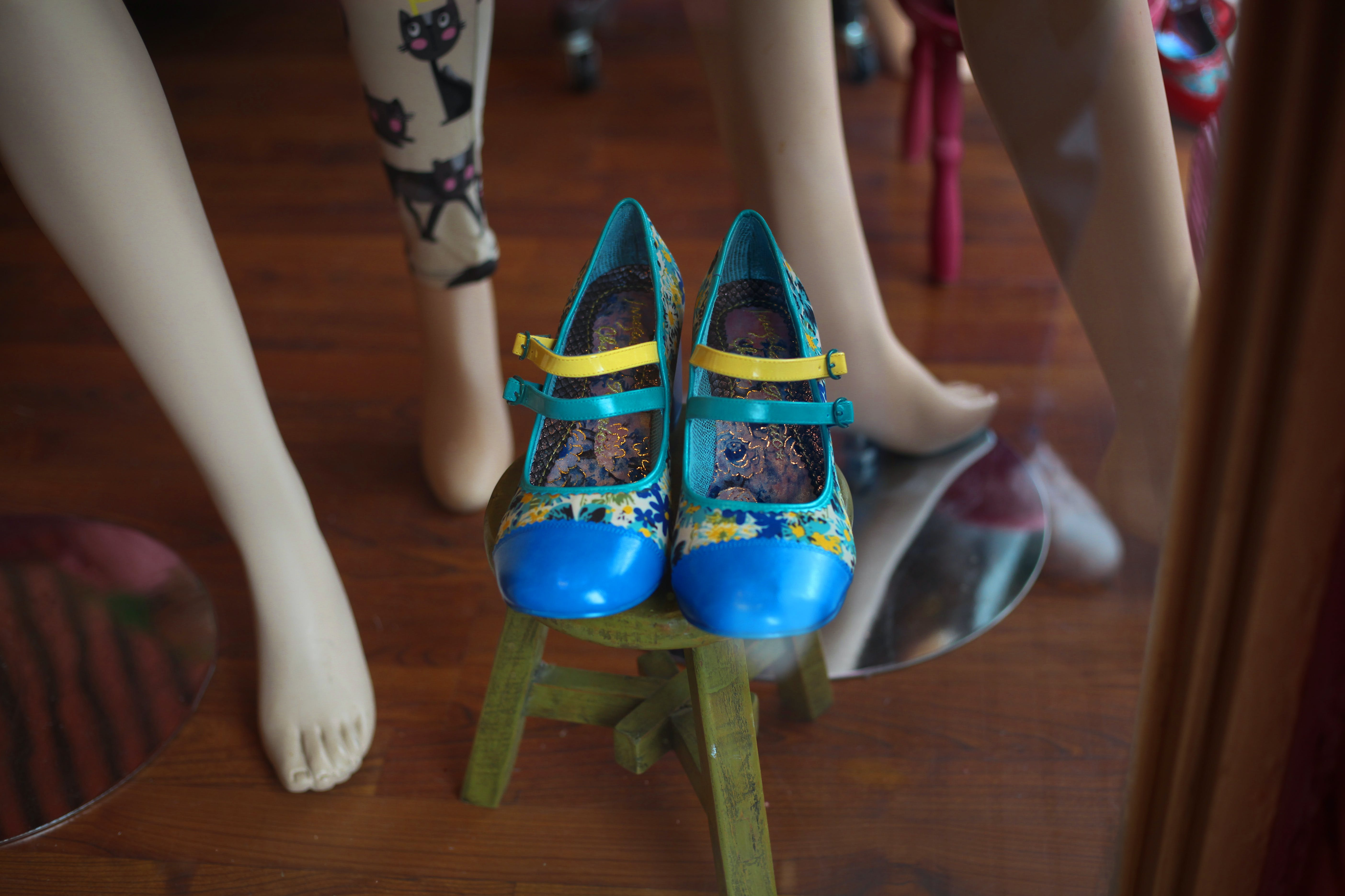 Free stock photo of shoes blue manequins
