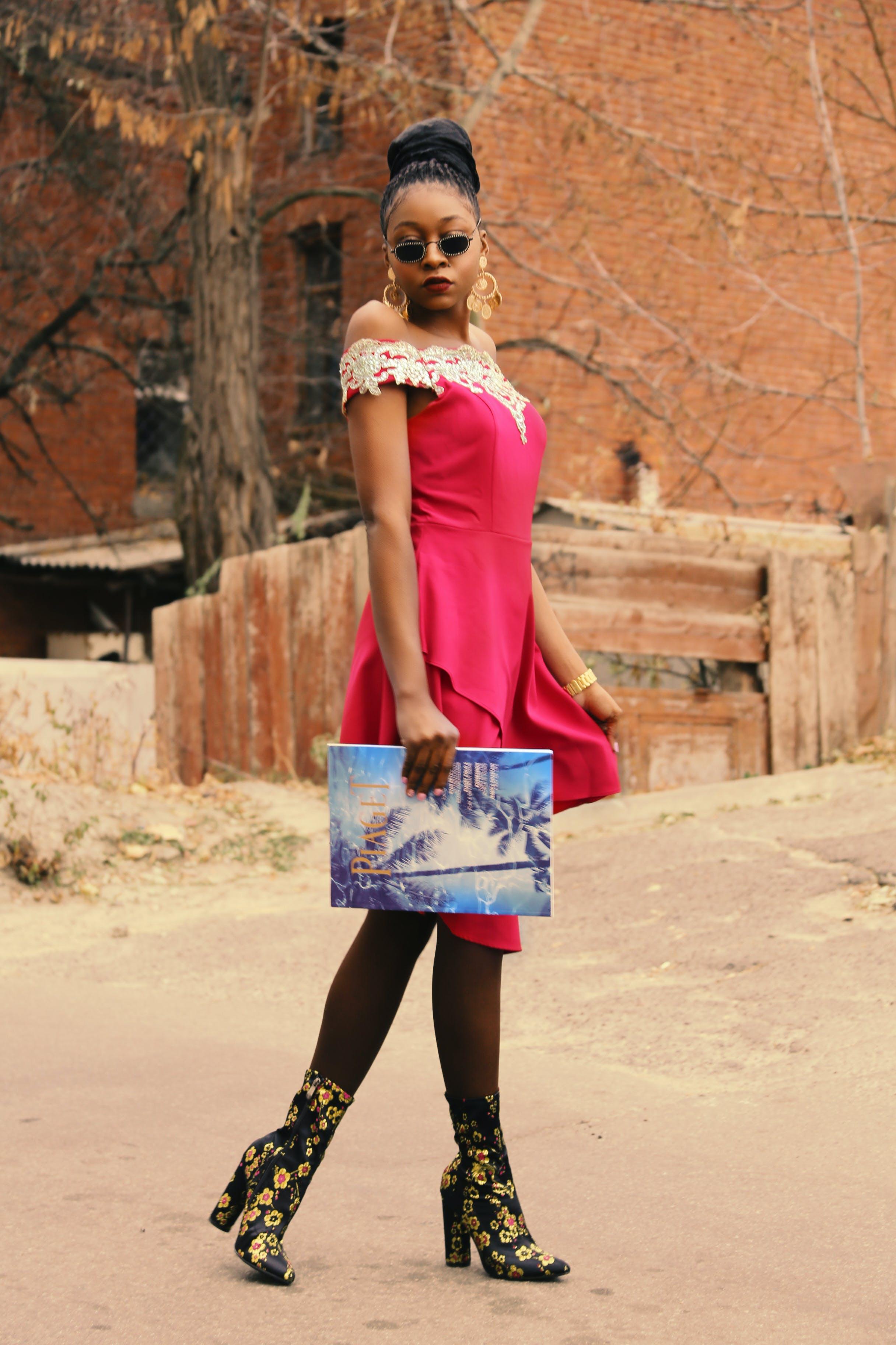 Woman Wearing Purple Sleeveless Dress