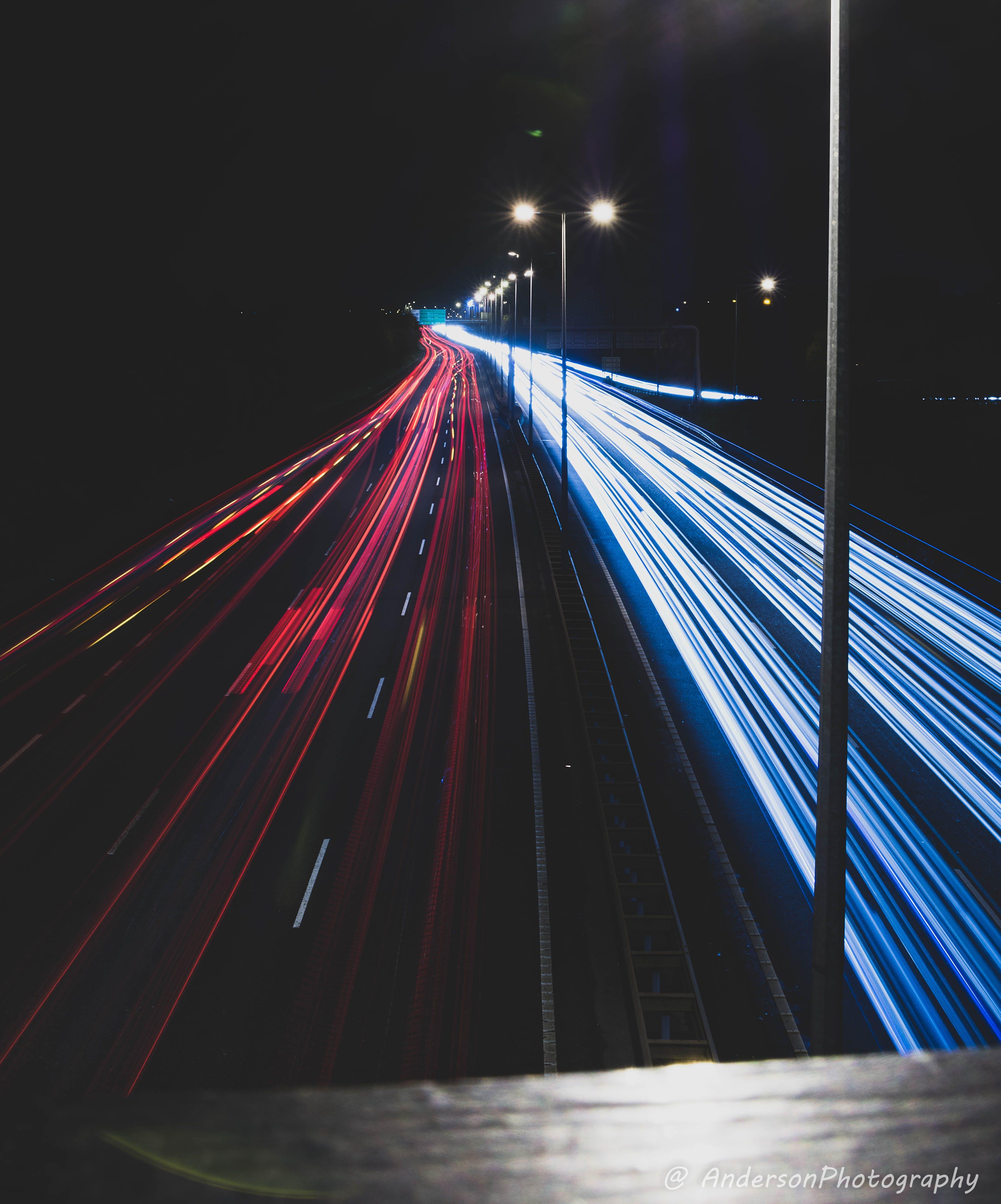 Free stock photo of car lights, cars, exposure, light trail