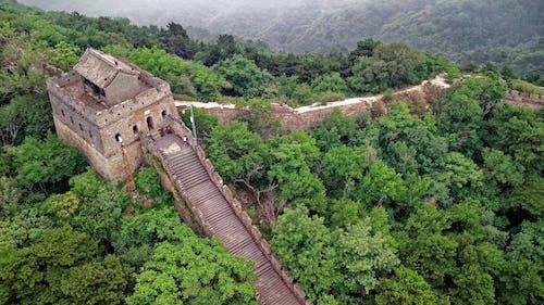 ドローン撮影, ランドマーク, 万里の長城, 上からの無料の写真素材
