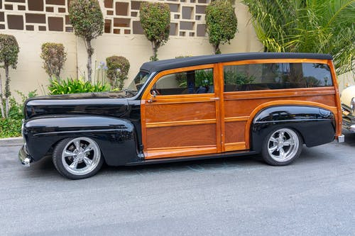 Vintage Black and Brown Station Wagon