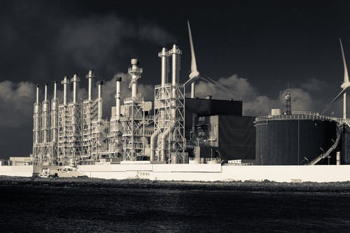 Free stock photo of black and white, hdr, power station, sea