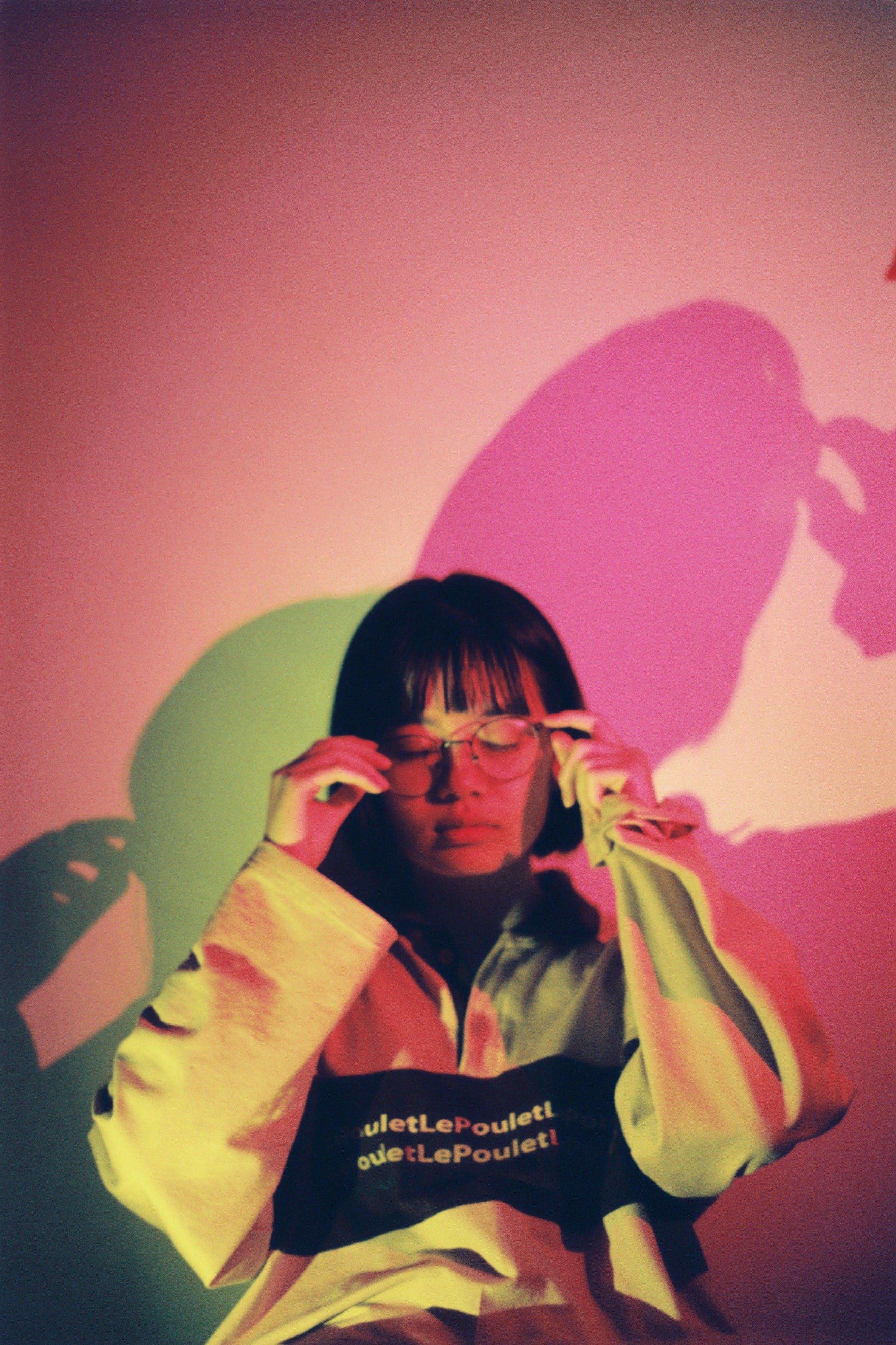Woman Wearing Eyeglasses And Pullover Hoodie