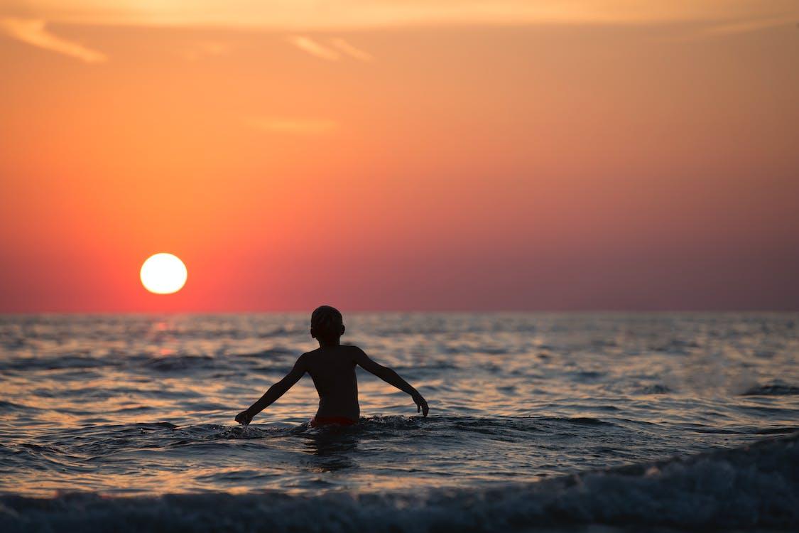 chlapec, dítě, horizont
