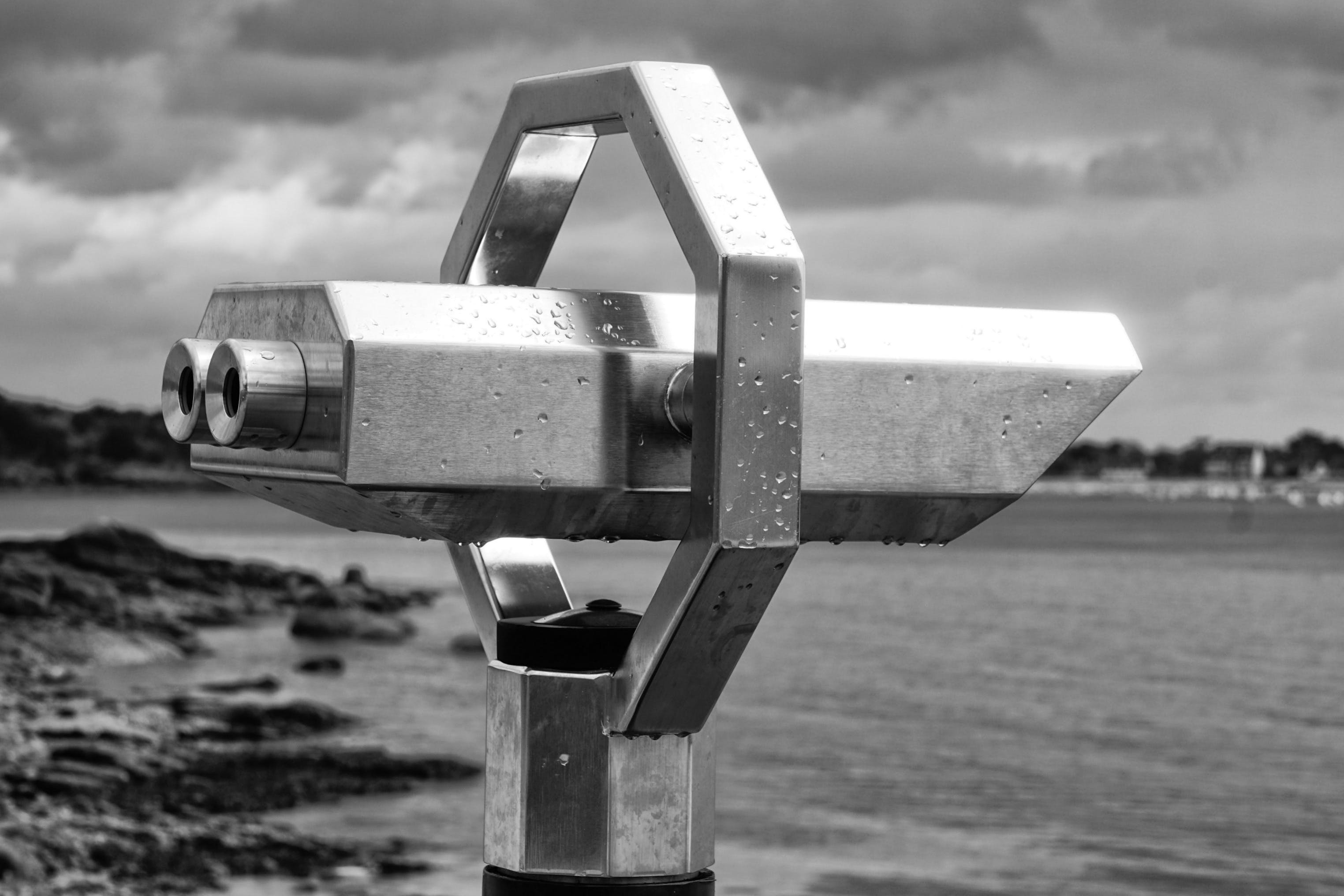 Grayscale Photography of Tower Viewer
