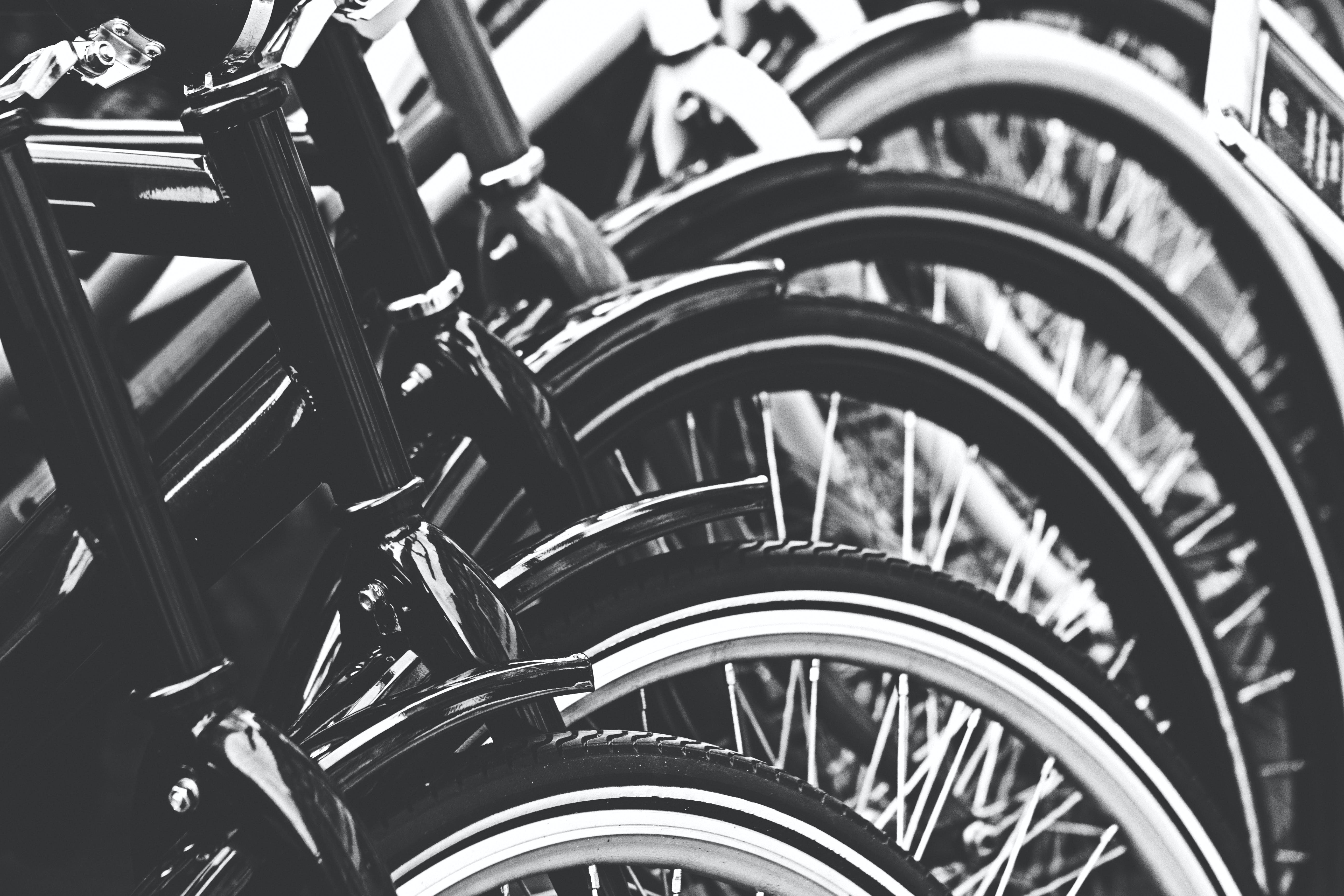 Grayscale Photography of Bicycle