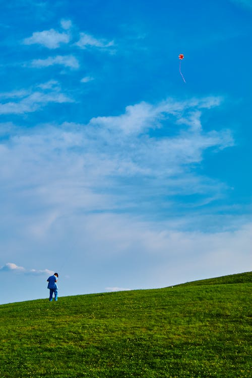 Photo of Kid on Grass Field Flying Kite