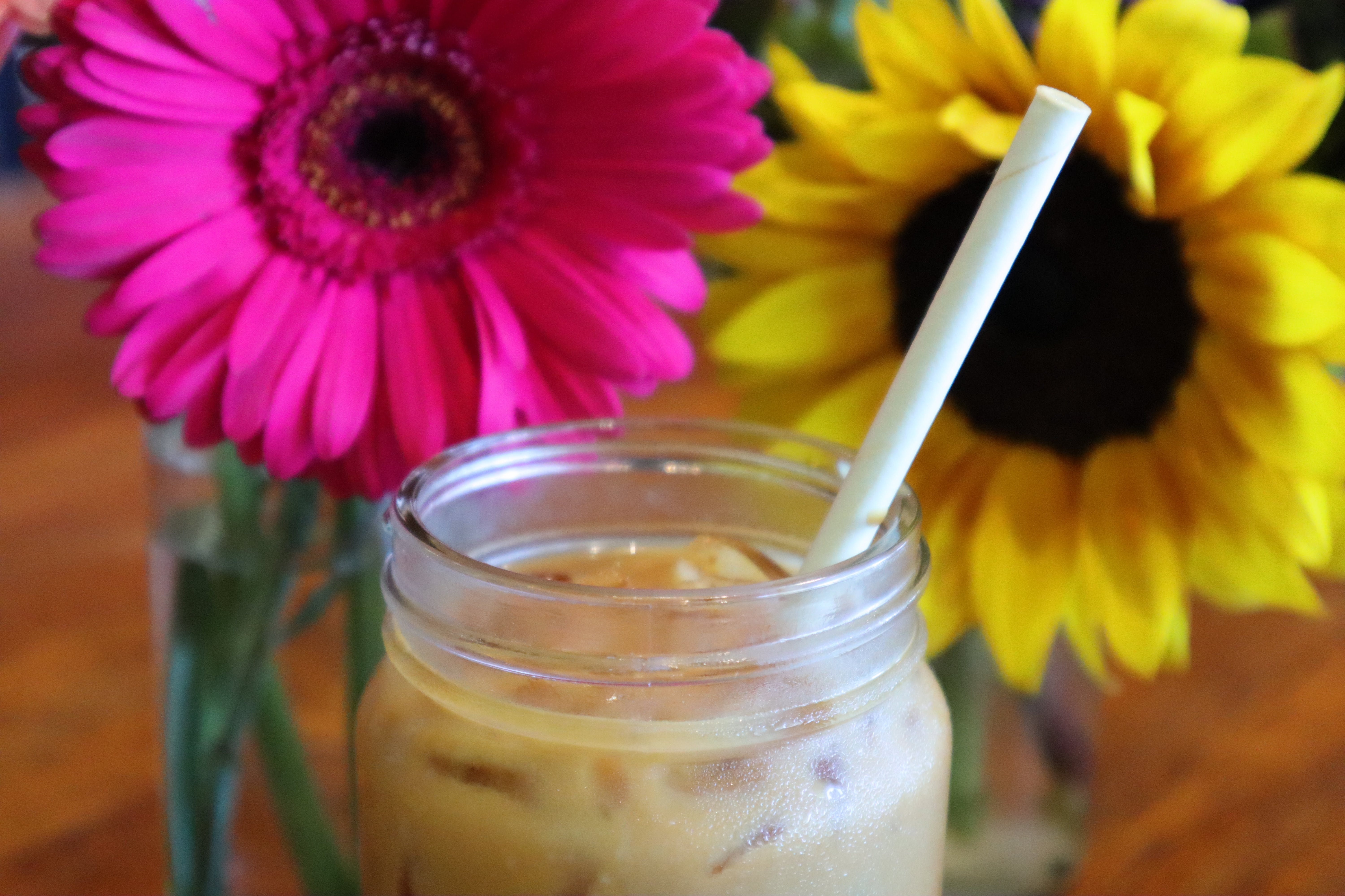 Free stock photo of coffee, iced coffee, pink, pink flower